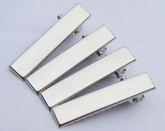 100PCS--32x6mm Silver plated flat metal hair alligator clip