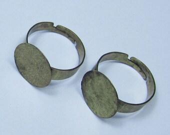 Antique bronze metal Rings--30pcs antique bronze metal Adjustable Ring Base with 15mm Round Pad