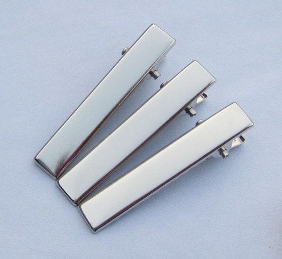 50PCS--40x7mm Silver plated flat metal hair clip alligator clip