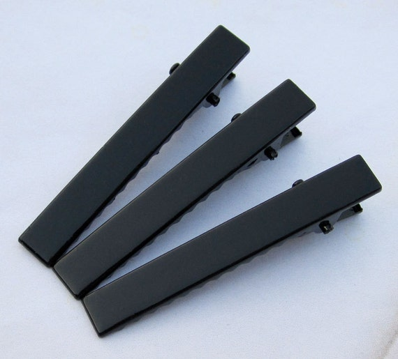 100PCS--56x8mm Black stone flat metal hair alligator clip