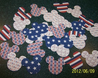Mickey Mouse Minnie Mouse heads ears die cuts July 4th patriotic USA red white blue stars stripes