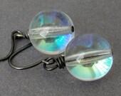 Clear Glass Earrings - iridescent earrings - gunmetal earrings - BUY 3 GET 1 FREE