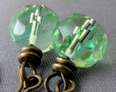 Green Glass Earrings - antique brass earrings with iridescent green dangles - BUY 3 GET 1 FREE