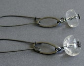 Clear Glass Earrings - Gunmetal Earrings with oval links and clear glass and elongated ear wires