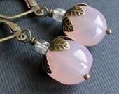 Pink Chalcedony Earrings - brass earrings with pink chalcedony nuggets and leaf caps - BUY 3 GET 1 FREE
