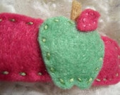 pink and green felt apple hair clip