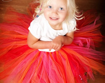 Zoey Pink Orange and Red Tutu 12-24 months 2T 3T 4