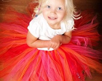 Red Orange Pink Tutu Size 12-24 months 3-4T