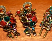 Vintage Jeweled Pinch Hair Clips - Three total
