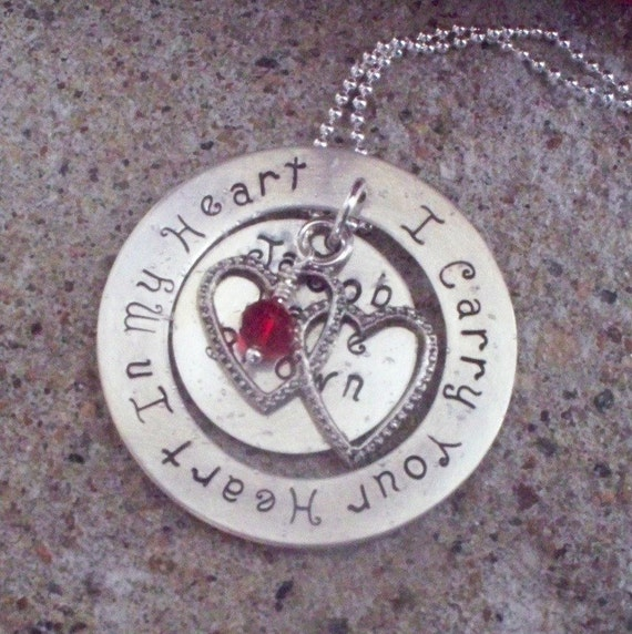 Child Loss Necklace I Carry Your Heart By Metalstampedmemories