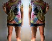 Vintage - 70s handmade tie dye marijuana t-shirt