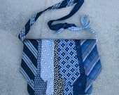 Vintage - upcycled necktie adjustable messenger bag