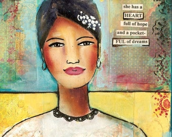 heart full of hope and a pocket-ful of dreams, mixed media print