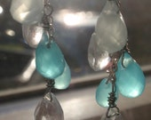 sweet moonbeam ... sparkly clear, blue and aqua quartz drop earrings