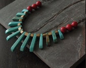 bedrock ... long primitive style turquoise and red necklace