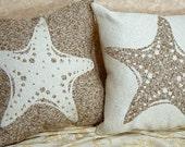 Starfish Pillows Decorative Accent Throw Nautical Sea side sea life coastal neutral star fish by Cabin Cove Creations