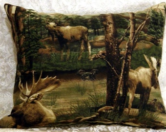 Moose Lodge North Woods Wilderness Pillow COVER SHAM CASE fits standard pillow 25 x 19.5 in. by Cabin Cove Creations