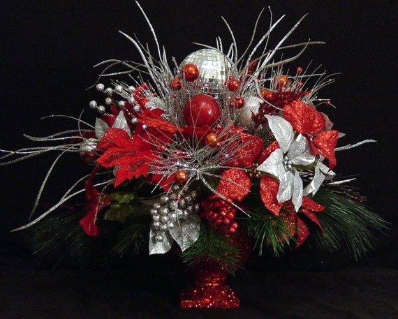 Floral Centerpiece Christmas Flower Arrangement Red and Silver disco mirrored ball STUNNING...lots of bling...by Cabin Cove Creations