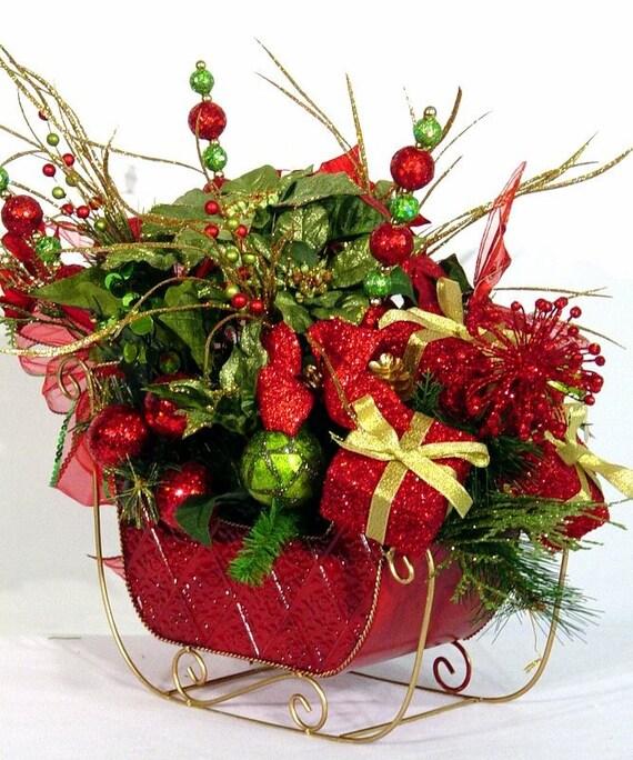 Sleigh Ride Centerpiece Floral Arrangement By