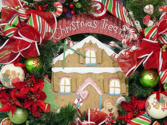 Christmas door Wreath Gingerbread House Sweet Treats Candy Cane Winter Holiday FrEE ShiPPing by Cabin Cove Creations