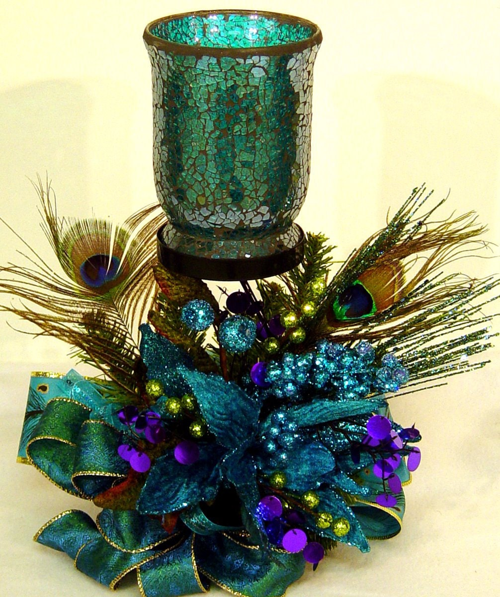 Peacock Wedding Centerpieces Ideas: Peacock Passion Floral Flower Arrangement Centerpiece W Mosiac