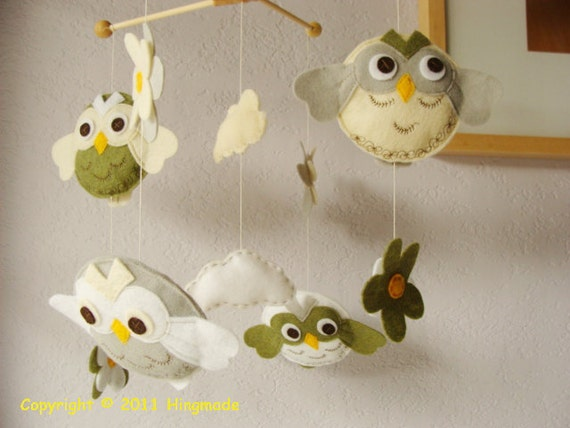 Reserved Listing Hanging Nursery baby Mobile -- Owl family in Green and Gray nursery