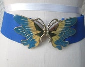Reserved for Lindzo722 enamel Butterfly buckle blue Elastic disco belt