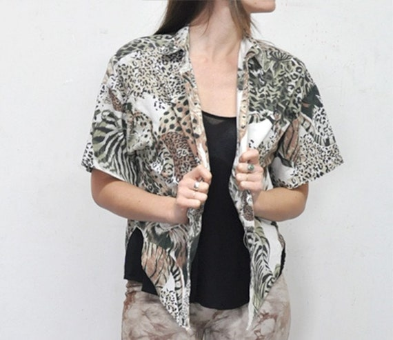 80s Lion and Zebra safari print Breezy Cotton poly Blend Summer top