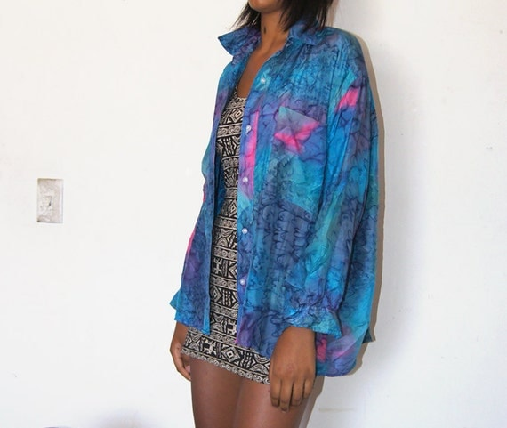 Water Colored Silk 90s Flowy hand dyed Pinks n blues Blouse