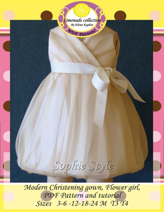 Christening , Flower girl dress, PDF Pattern, Ebook tutorial with pictures