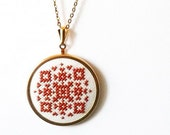 Hand embroidered jewelry amber geometrical ornament on white - n014