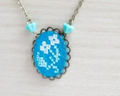 Hand embroidered necklace white flower on blue felt - gift for her - floral jewelry - n055