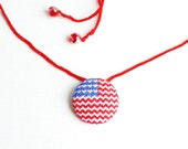 Cross stitch necklace American flag