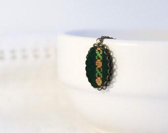 Ukrainian ornament on dark green felt - hand embroidered necklace - n025