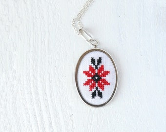 Hand embroidered necklace Ukrainian ornament red and black - n005