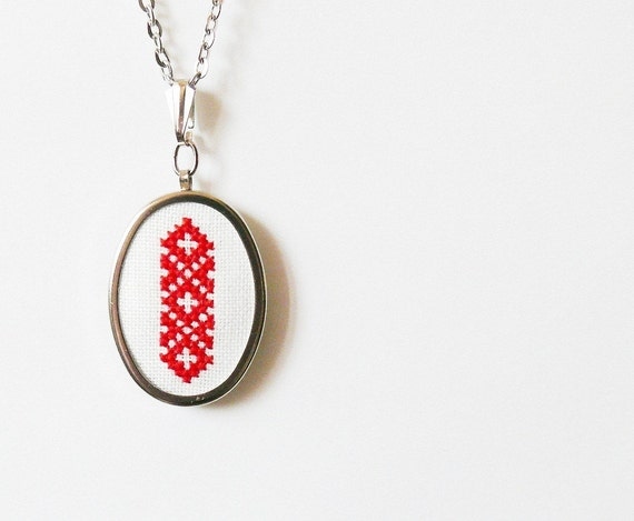 Hand embroidered necklace Ukrainian ornament in red color - n001