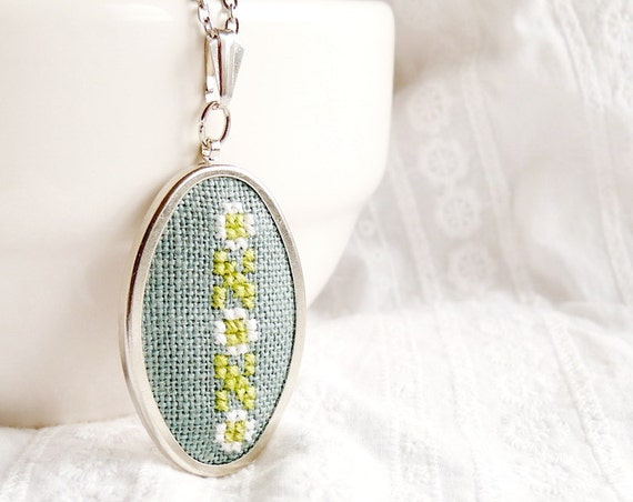 Hand embroidered necklace Line of blossoms on green - floral jewelry - gift for her - n037