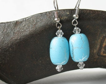 Light earrings with czech transparent and turquoise beads