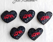 Five Heart Iron on Appliques, patches. Black with glossy Polka Dots, embroidered word LOVE on each Heart, Heat Press, 3 inch Wide