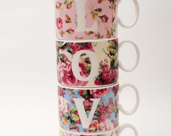 Love four floral vintage inspired bone china stacking cups from Wales