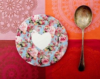 "I love you set of three vintage inspired floral bone china 6"" tea plates"