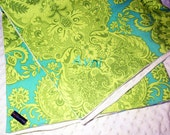Monogrammed Baby Blanket - Amy Butler Love Sandlewood Turquoise fabric - Etsykids Team - Turquoise and Green