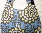 Monogrammed Baby Bib -  Amy Butler Sky Wall Flower