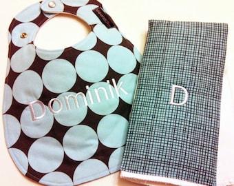 Monogrammed Bib and Burp Cloth set - Gray and Blue