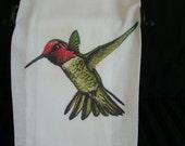 Hummingbird tea towel - Bird lover gift - Flour sack towel -