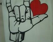 LOVE -American Sign Language LOVE - Tea towel - flour sack towel - custom printed
