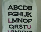 Alphabet Tea Towel, ABC, LUV- Custom printed flour sack towel - super Cute