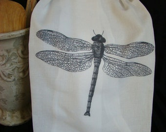 Dragonfly Tea Towel -Black and White - Flour Sack towel