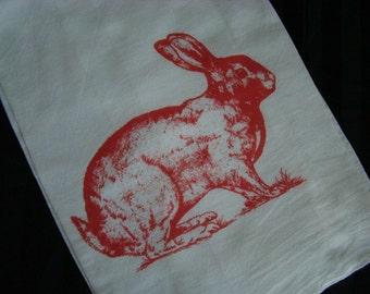 Red Rabbit Tea Towel - Flour Sack Towel - Custom printed - Super Cute