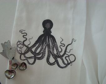 Octopus Tea towel - flour sack - custom printed - Steampunk Kitchen